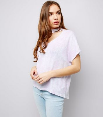 Multi-Colured Fine Knit Choker T-Shirt