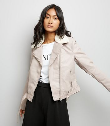 Pale Pink Shearling Faux Fur Collar Biker Jacket