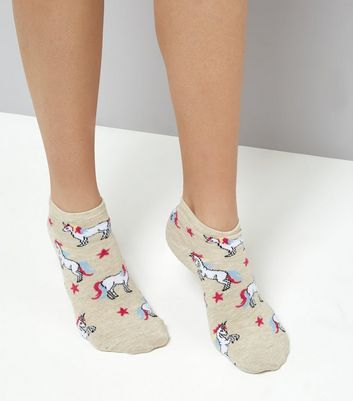 Stone Unicorn Print Trainer Socks