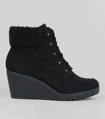 Teens Black Suedette Shearling Trim Wedge Boots