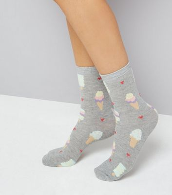 Grey Ice Cream Print Socks