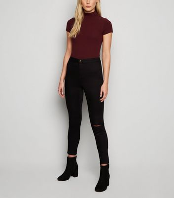Tall Black Ripped Knee High Waist Super Skinny Jeans