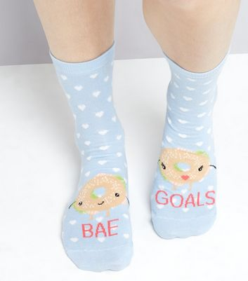 Pale Blue Spot Print Bae Goals Socks