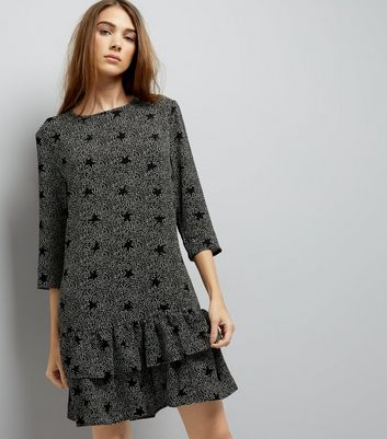 JDY Black Frill Hem Strar Print Dress