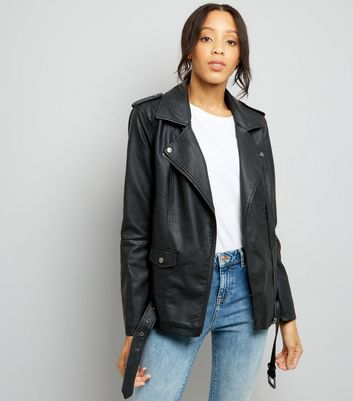 JDY Black Leather-Look Longline Biker Jacket