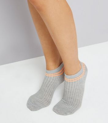 Grey Neon Stripe Ribbed Trainer Socks