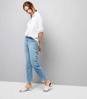 Blue Embellished Stud Trim Tori Mom Jeans
