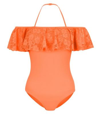 Teens Orange Bardot Neck Swimsuit