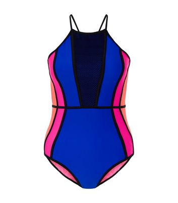Teens Blue Colour Block Swimsuit