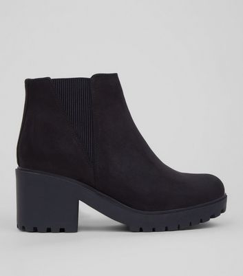 Teens Black Suedette Chunky Chelsea Boots