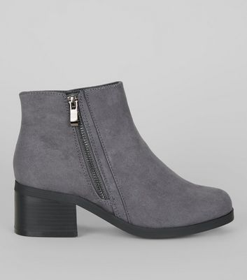 Teens Grey Suedette Zip Side Boots