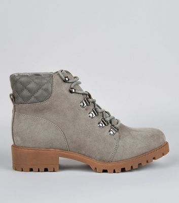 Teens Grey Quilted Panel Worker Boots