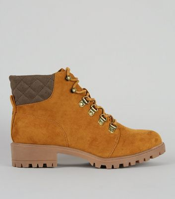 Teens Tan Suedette Lace Up Worker Boots