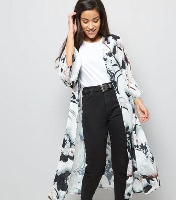 Black Abstract Print Belted Maxi Kimono
