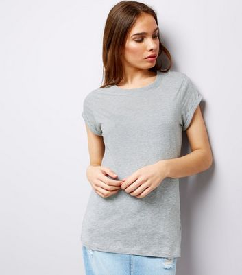 Tall Grey Rolled Sleeve T-Shirt