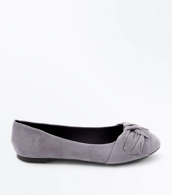 Wide Fit Grey Comfort Suedette Knot Ballet Pumps