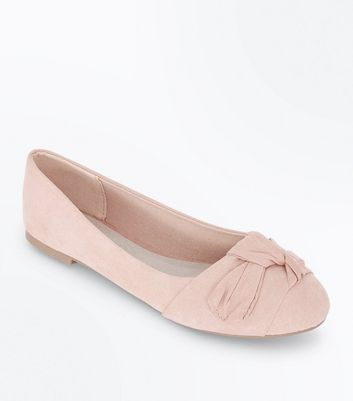 Wide Fit Nude Comfort Suedette Knot Bow Pumps