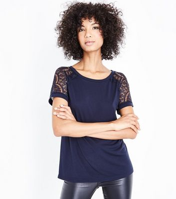 JDY Navy Lace Sleeve Top
