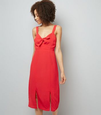 Red Bow Front Split Front Midi Dress
