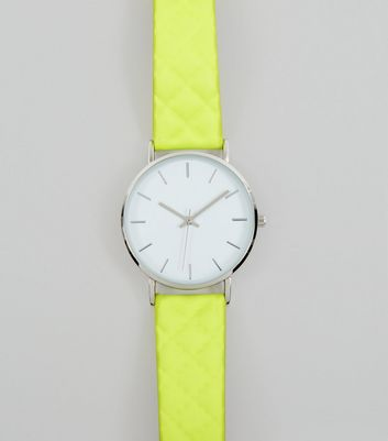 Neon Green Quilted Strap Watch