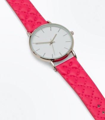 Bright Pink Quilted Strap Watch