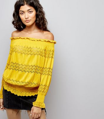 Cameo Rose Bright Yellow Crochet Lace Trim Bardot Neck Top