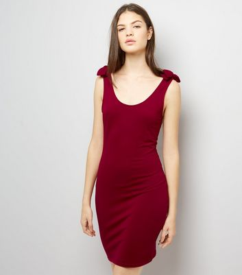 Red Tie Strap Bodycon Jersey Dress