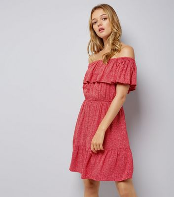 Red Spot Print Frill Trim Bardot Neck Dress