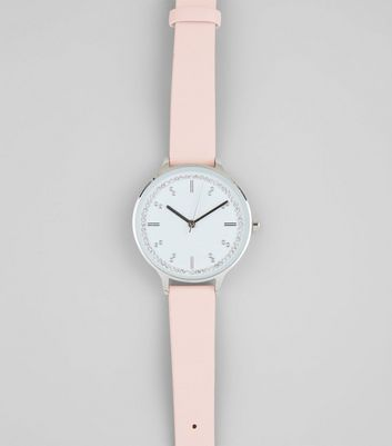 Pink Diamante Embellished Dial Watch