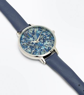 Blue Floral Glitter Dial Watch