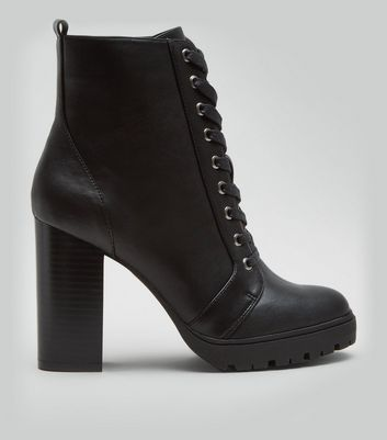 Wide Fit Black Block Heel Lace Up Biker Boots