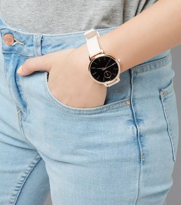 Pink Silicone Strap Metallic Trim Watch