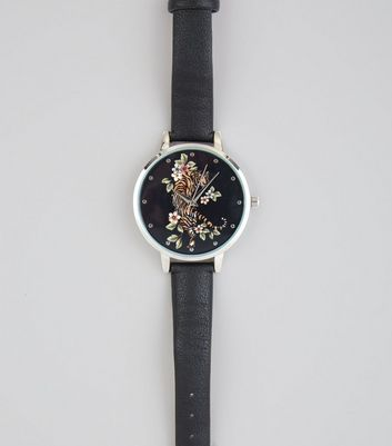 Black Floral Tiger Print Face Watch