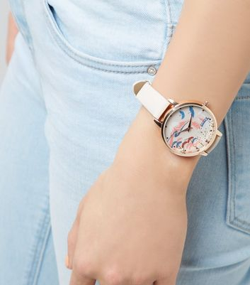 Rose Gold Leaf Dial Watch