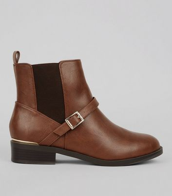 Wide Fit Brown Buckle Ankle Boots