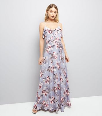 Lilac Floral Print Frill Trim Maxi Dress