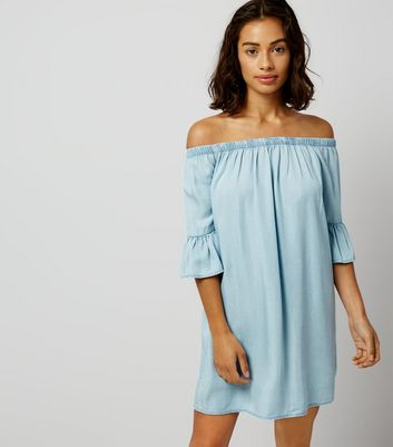 Petite Blue Bell Sleeve Bardot Neck Dress