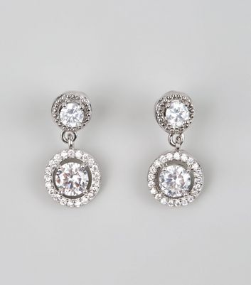 Silver Cubic Zirconia Drop Stud Earrings