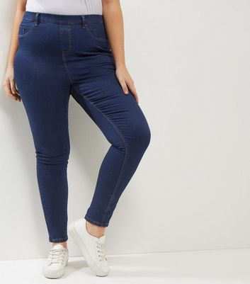 Curves Navy 5 Pocket Jeggings
