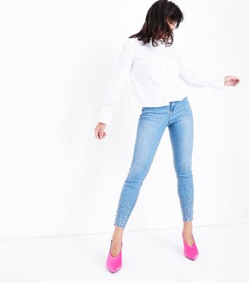 Blue Beaded Raw Hem Skinny Jenna Jeans