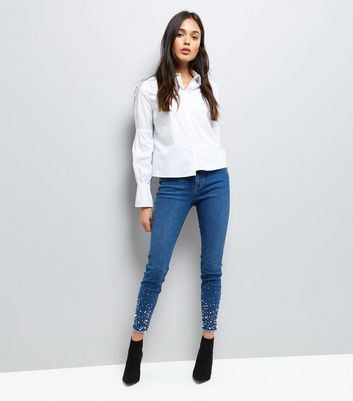 Dark Blue Beaded Raw Hem Skinny Jenna Jeans