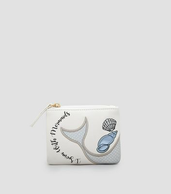 White I Swim With Mermaids Zip Top Purse