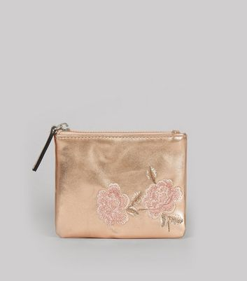 Rose Gold Metallic Floral Embroidered Zip Top Purse