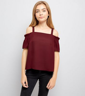 Teens Burgundy Shirred Sleeve Cold Shoulder Top