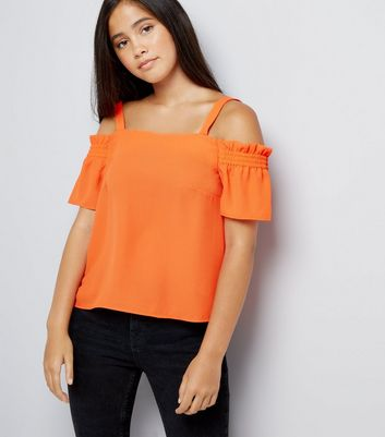 Teens Orange Shirred Sleeve Cold Shoulder Top