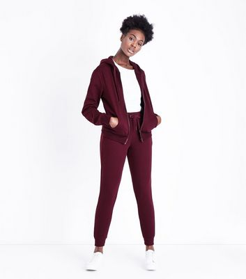 Burgundy Slim Leg Cotton Blend Joggers