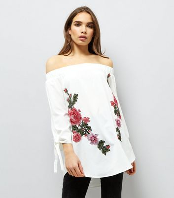 AX Paris White Floral Embroidered Bardot Neck Top