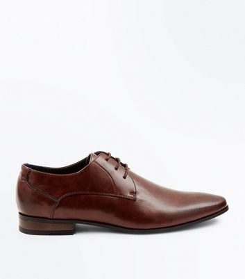 Brown Lace Up Pointed Derby Shoes