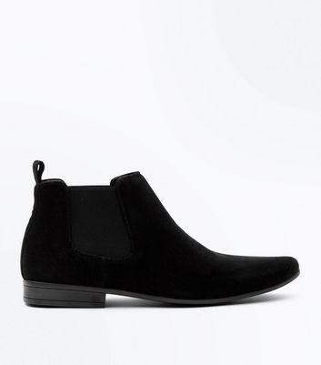 Black Suedette Pointed Toe Chelsea Boots