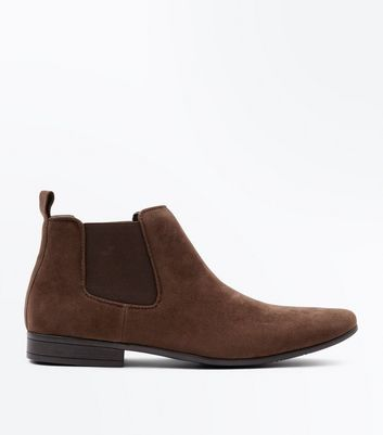 Brown Suedette Pointed Toe Chelsea Boots